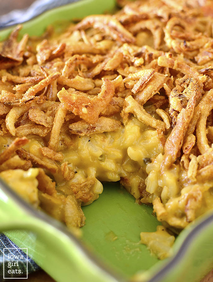Casserole dish or Cheesy Chicken and Rice Green Bean Casserole