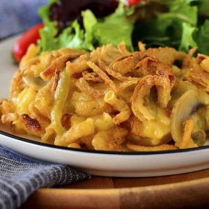 Cheesy Chicken and Rice Green Bean Casserole