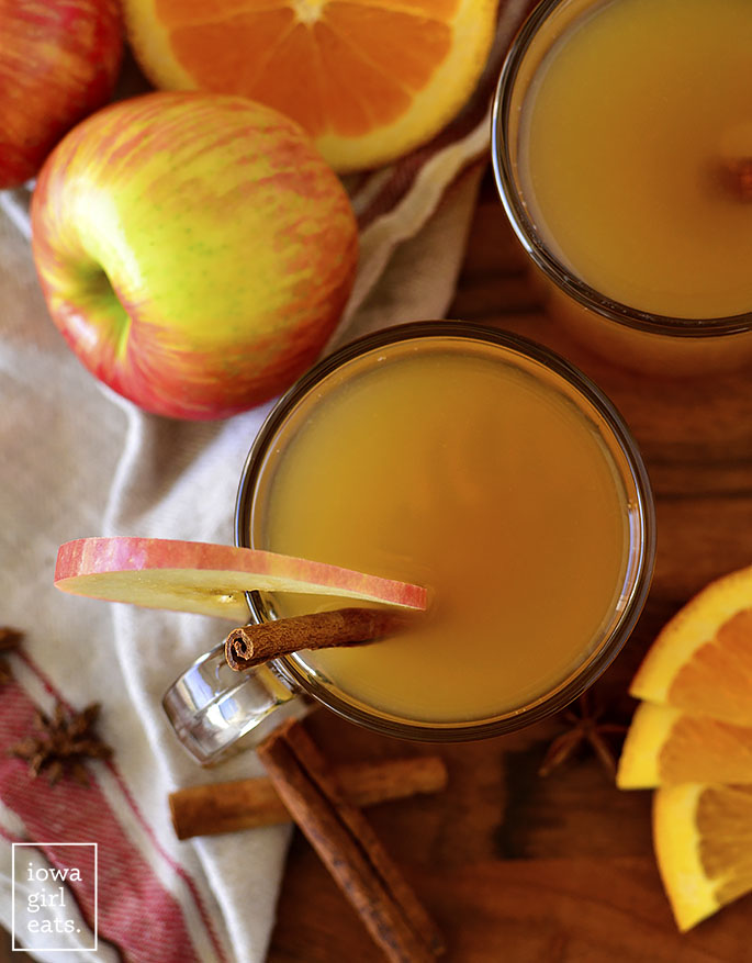Overhead photo of mulled apple cider