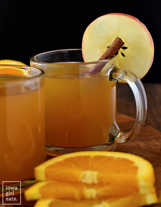 Mulled Apple Cider with an apple slice and cinnamon stick
