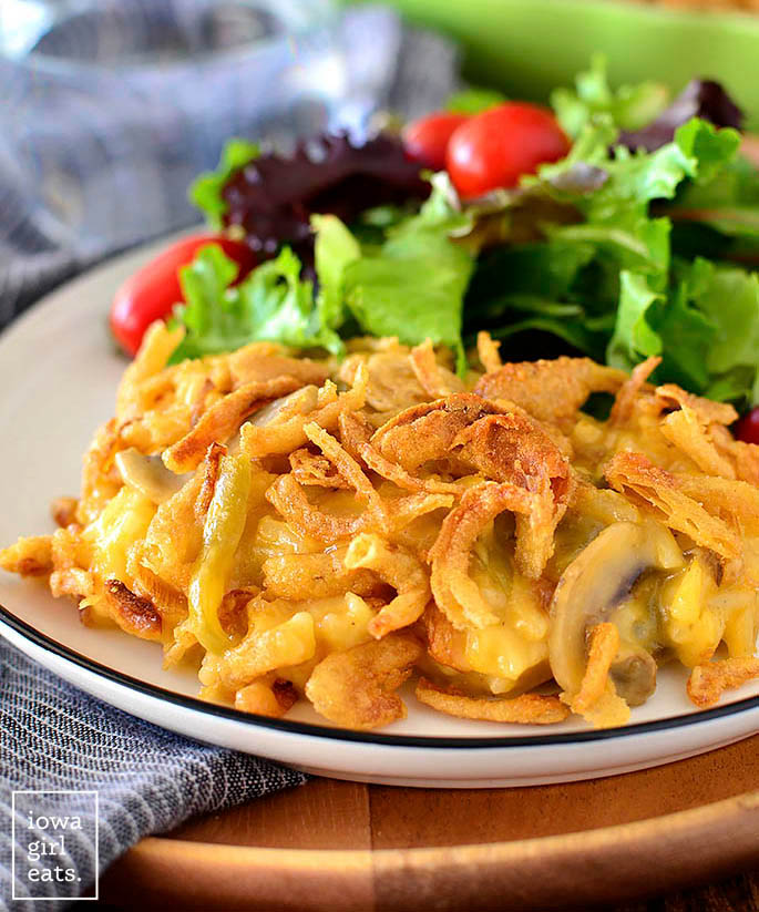 Plate of Cheesy Chicken and Rice Green Bean Casserole