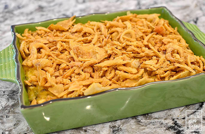 cheesy casserole dish topped with french fried onions