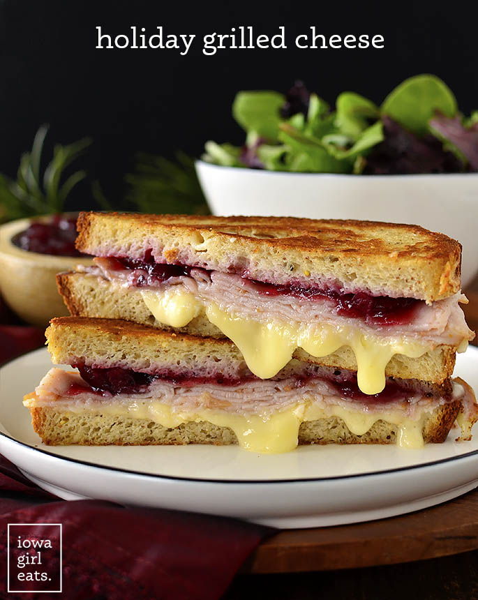 Holiday Grilled Cheese Sandwich cut in half