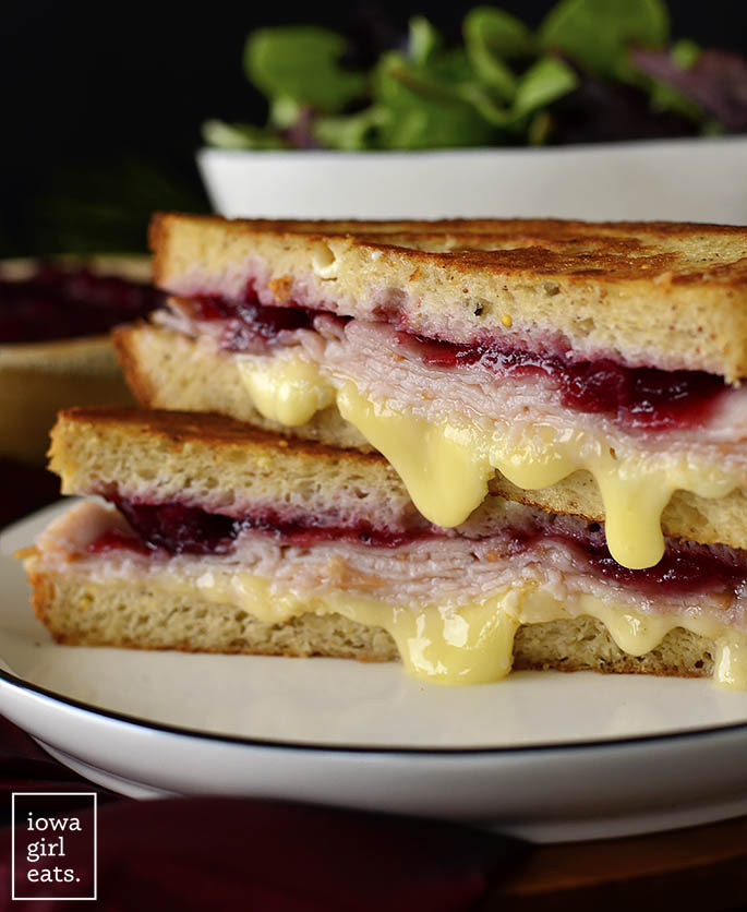 Holiday Grilled Cheese with melty cheese