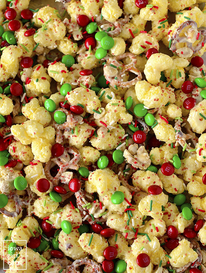 Overhead photo of Christmas munch snack mix