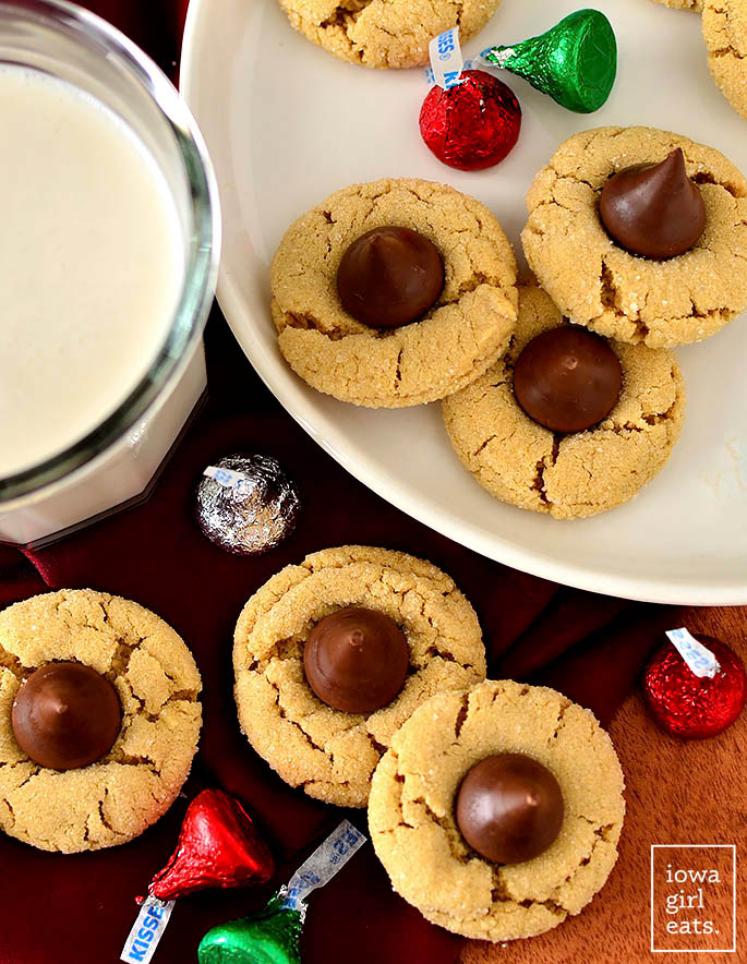 Overhead photo of a plate of gluten free peanut butter blossoms