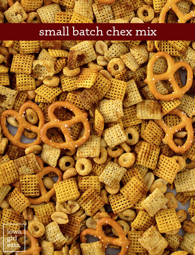 Chex Mix on a baking sheet