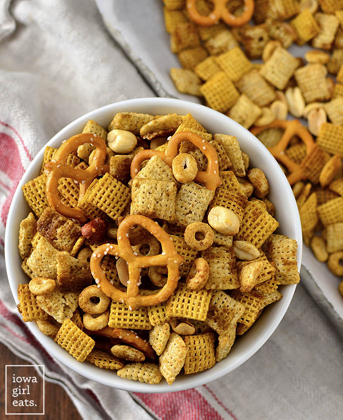 Bowl of small batch Chex Mix