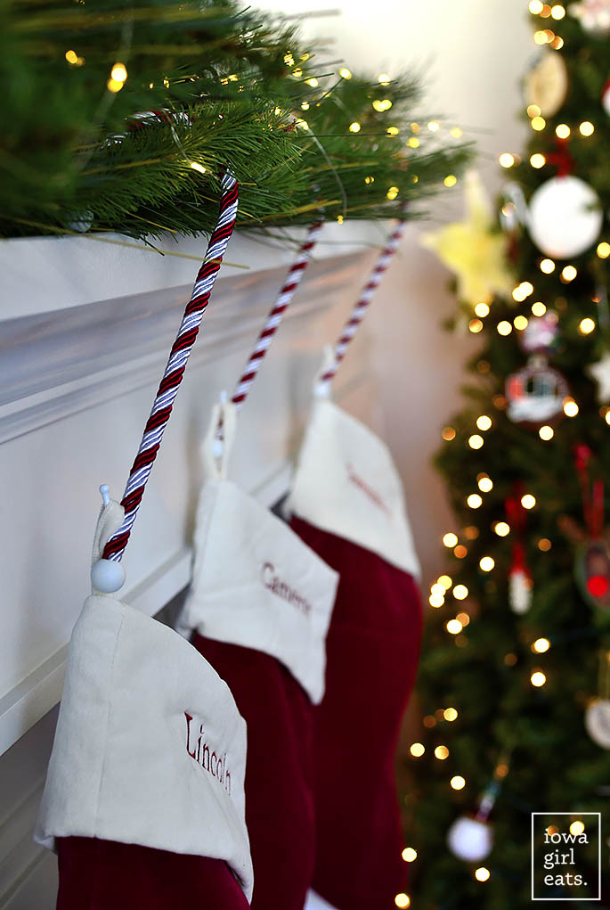 stockings hung on a mantle