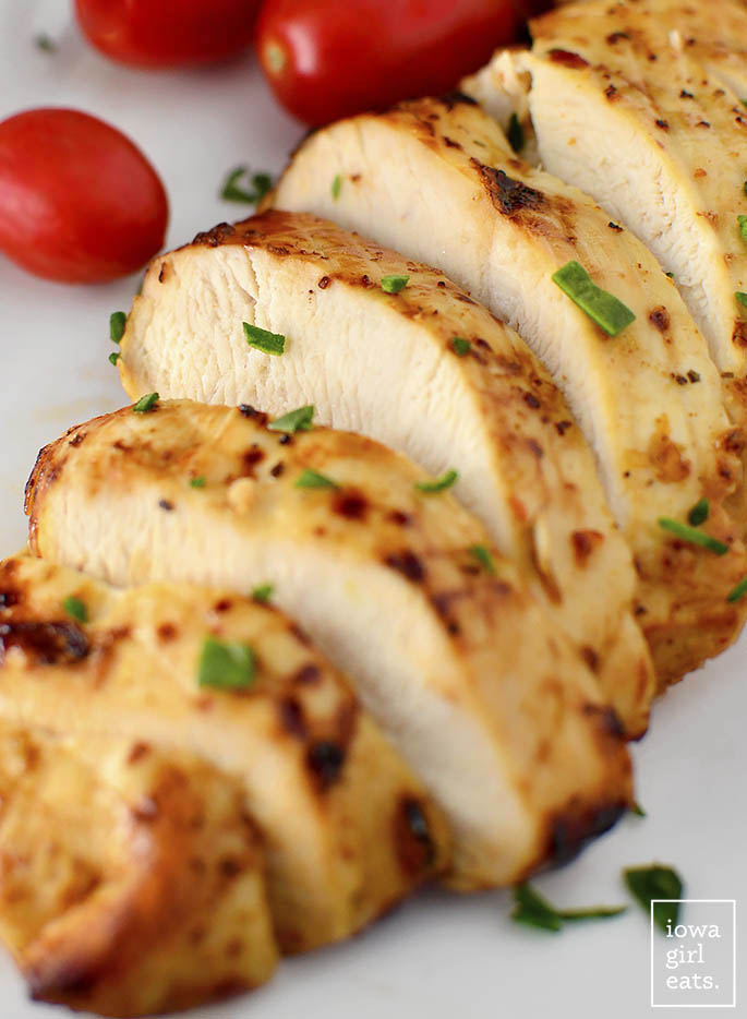 Close up photo of chicken cooked in an air fryer