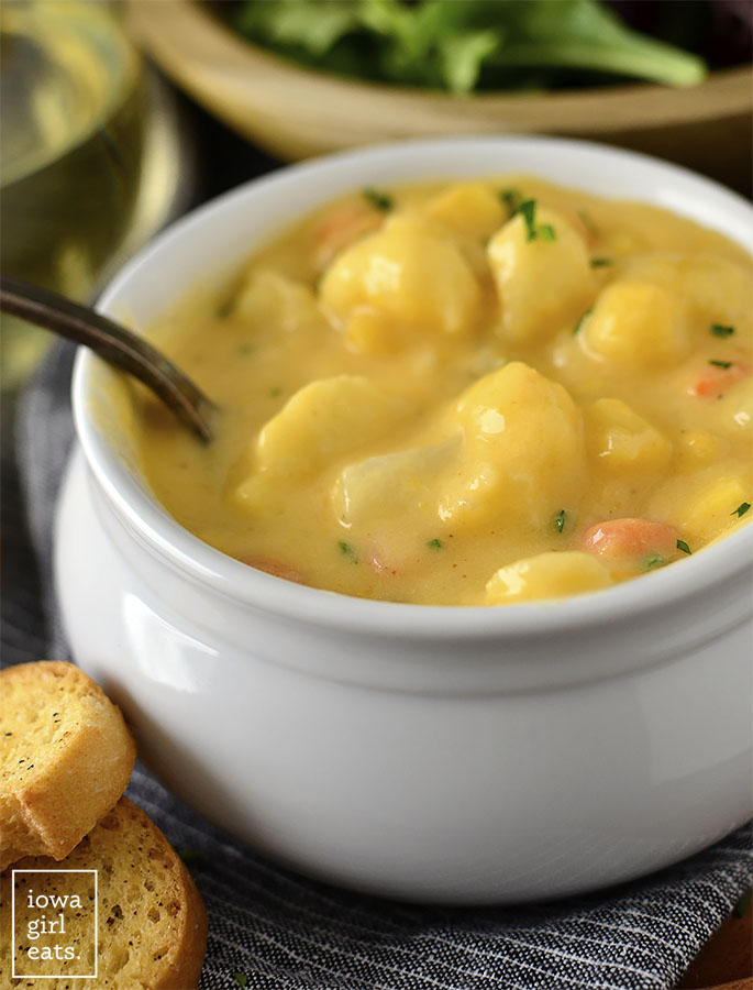Spoon in a bowl of cauliflower cheese soup