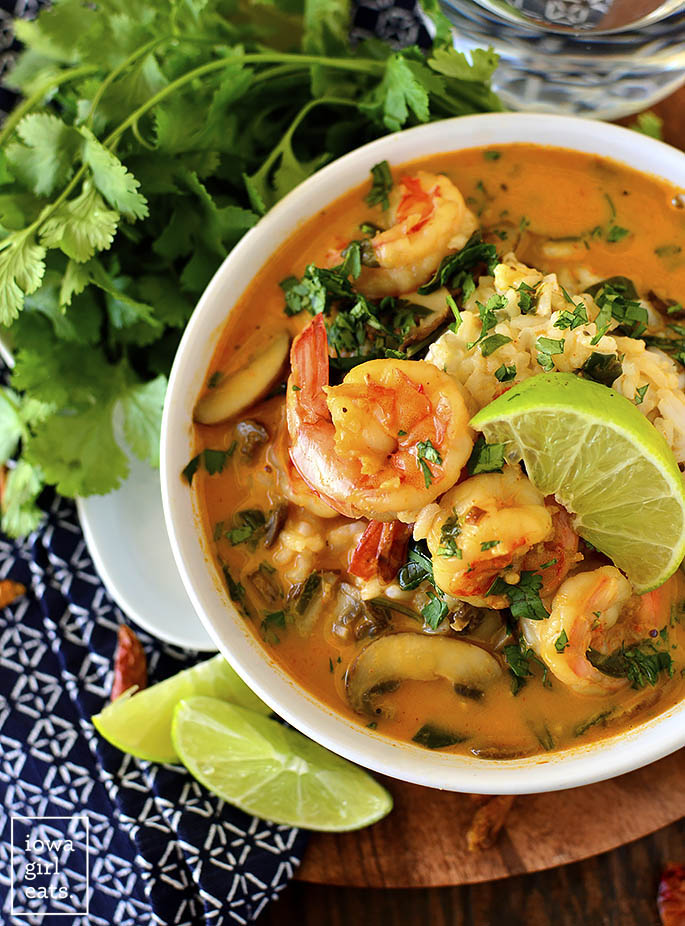 Overhead photo of a bowl of Thai Coconut Shrimp Soup