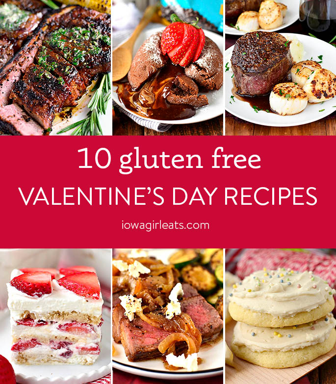 Photo collage of gluten free valentine's day recipes
