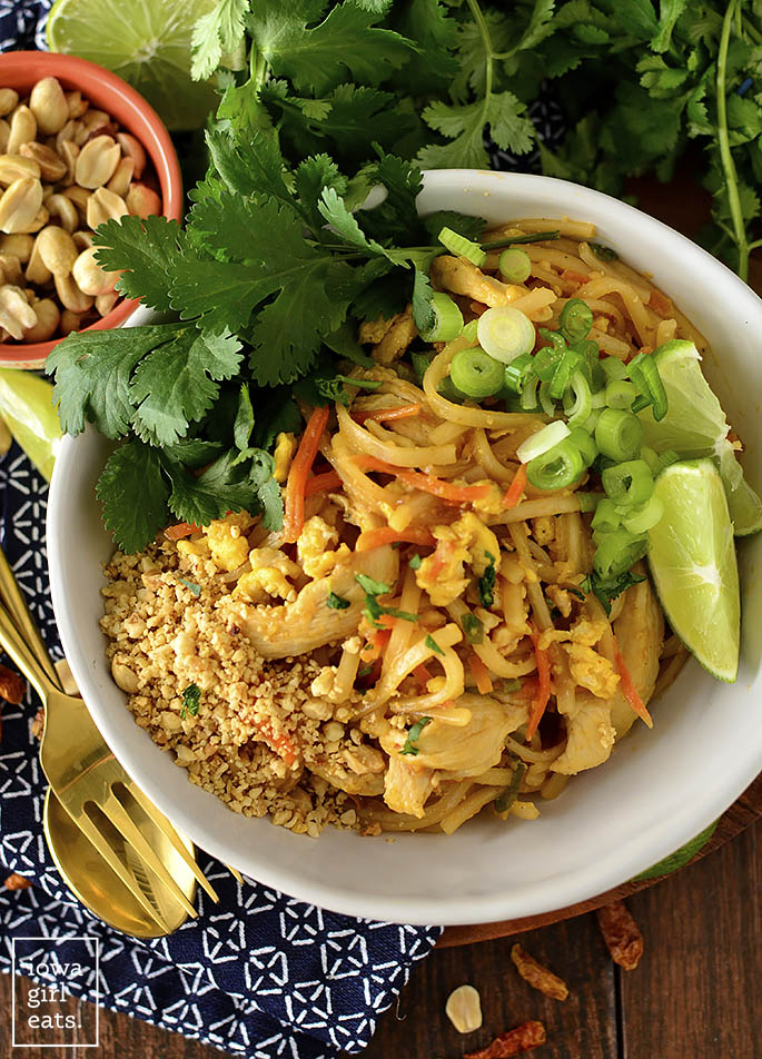 overhead photo of chicken pad thai made without tamarind