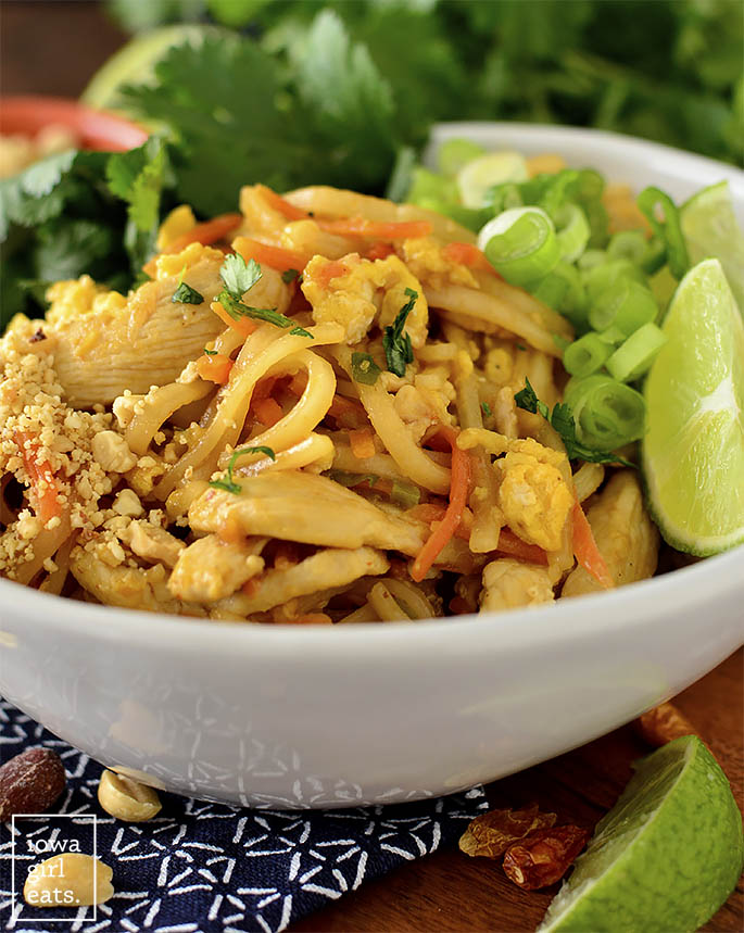 close up photo of pad thai in a bowl