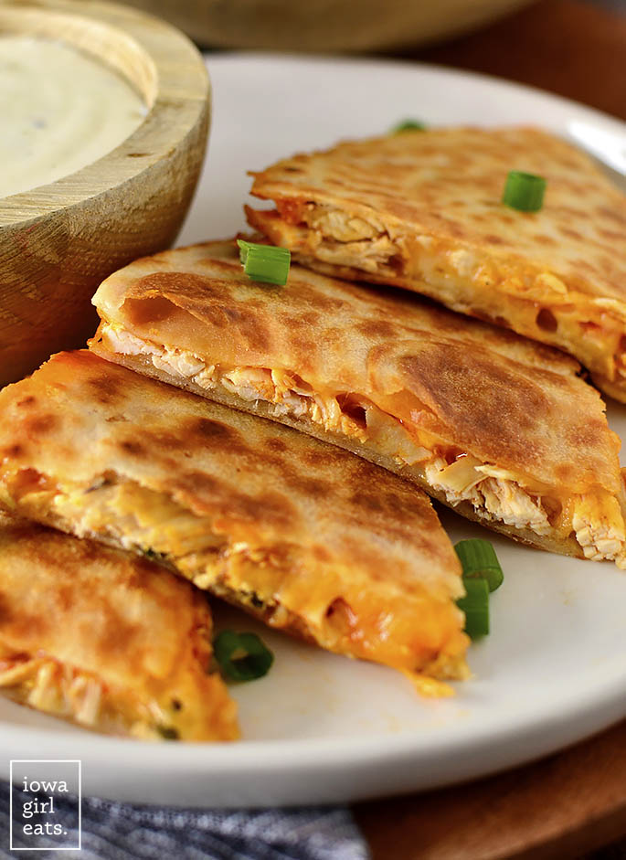 Buffalo chicken quesadillas laid out on a plate