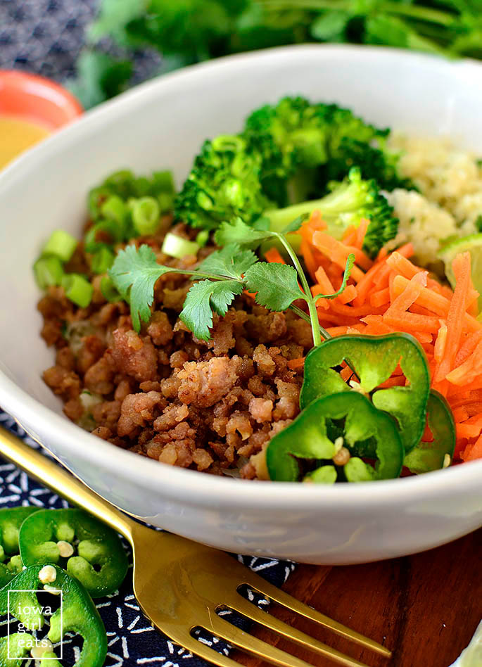 Bowl of Caramelized Ground Pork and toppings