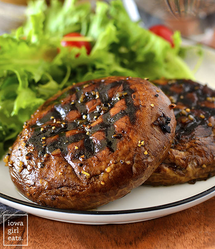 grilled portobello mushrooms on a plate