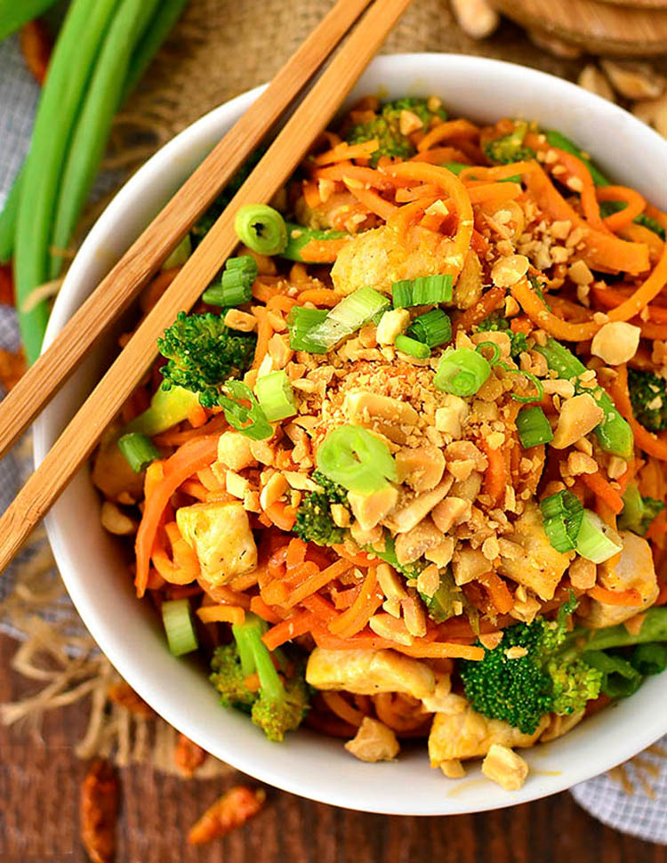 Bowl of Thai Peanut Chicken and Sweet Potato Noodles