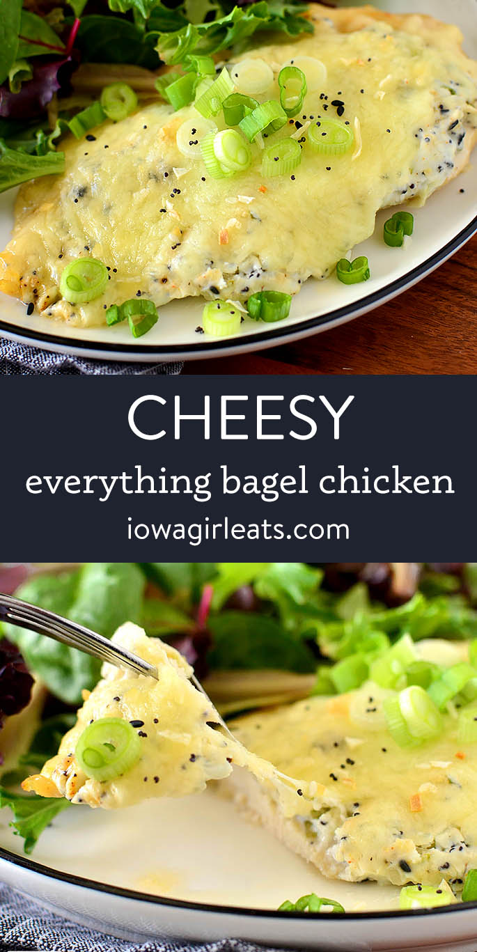 photo collage of everything bagel chicken with cream cheese